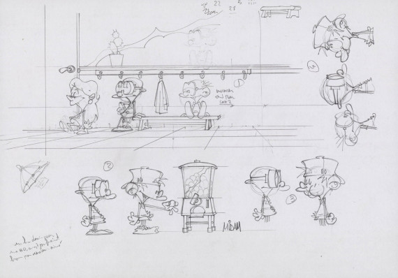 Midam - Sketches for Kid Paddle © Midam test